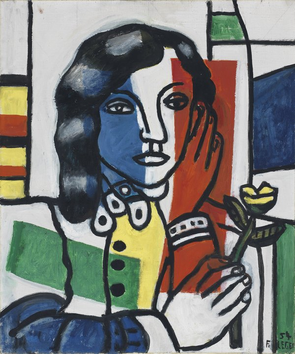 Jeune fille tenant une fleur. Léger, Fernand (French, 1881-1955). Oil on canvas, height 55.0 cm, width 46.0 cm, 1954., art exhibitions in December