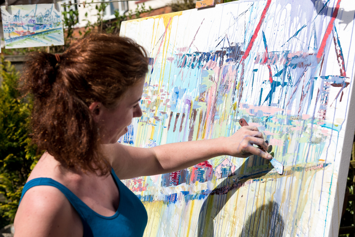 Zsuzsanna Pataki at work with a palette knife