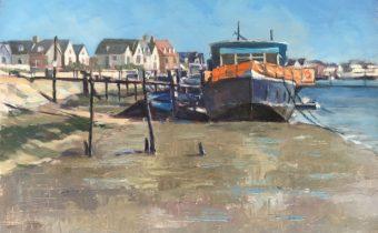 Houseboat Burnham on Crouch - oil on Extra Fine linen panel
