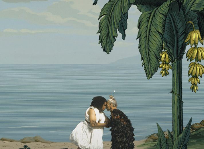 Lisa Reihana, in Pursuit of Venus [infected] (detail) depicting the Raiatean Tupaia meeting a Maori Chief, 2015–17. Single-channel video, Ultra HD, colour, 7.1 sound, 64 minutes. Auckland Art Gallery Toi o Tāmaki, gift of the Patrons of the Auckland Art Gallery, 2014. Additional support from Creative New Zealand and NZ at Venice Patrons and Partners © Image courtesy the artist and ARTPROJECTS.