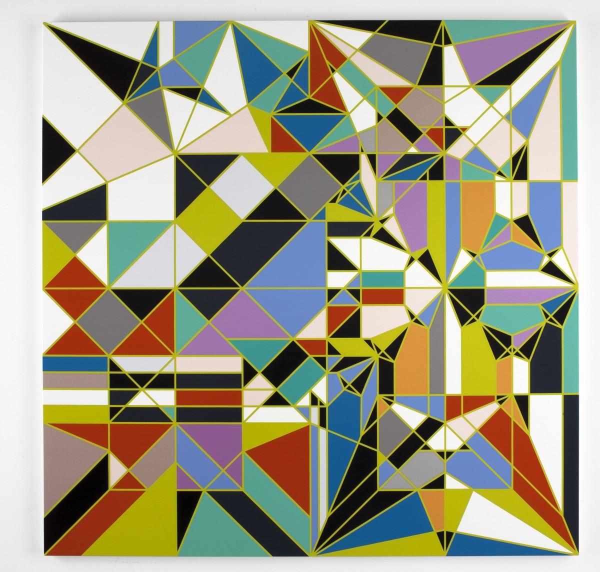 Demoiselle (Origami) Sarah Morris 2009 Peinture brillante domestique sur toile 113 3/4 × 113 3/4 in. (289 × 289 cm) © Sarah Morris (Image gracieuseté de White Cube Gallery)