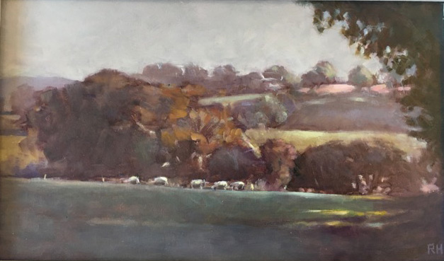 Robert Higgins, Early morning Herefordshire, oil on MDF panel