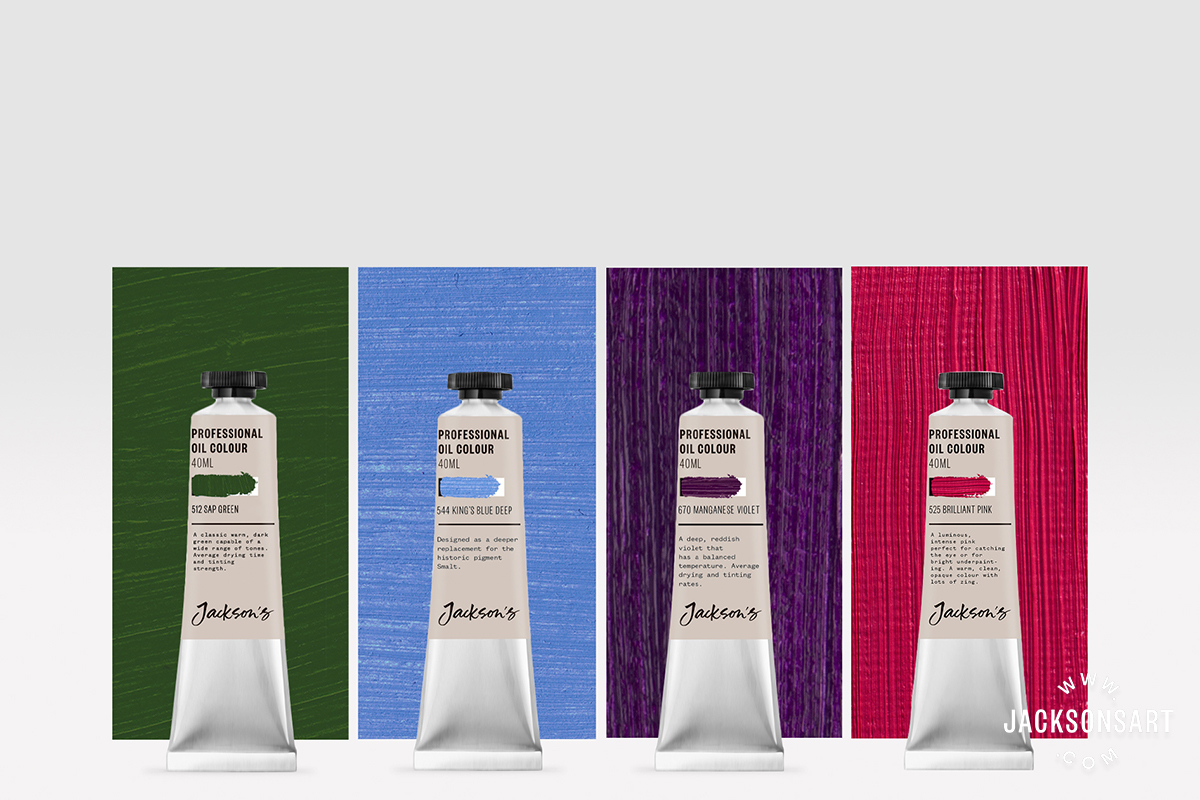 >New Jackson's Professional Oil Paint Colours: Sap Green, Brilliant Pink, King's Blue Deep, Manganese Violet available in 40ml