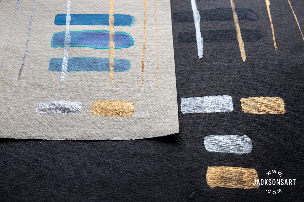 Testing on black and white Khadi paper allows one to instantly gauge a material's opacity