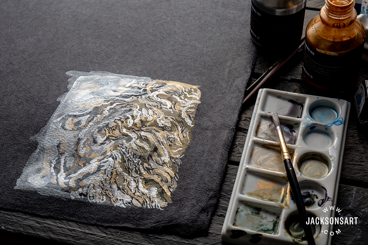 Jackson's Silver and Gold Drawing Ink mixed with Winsor and Newton Blue Ink on Black Khadi Paper