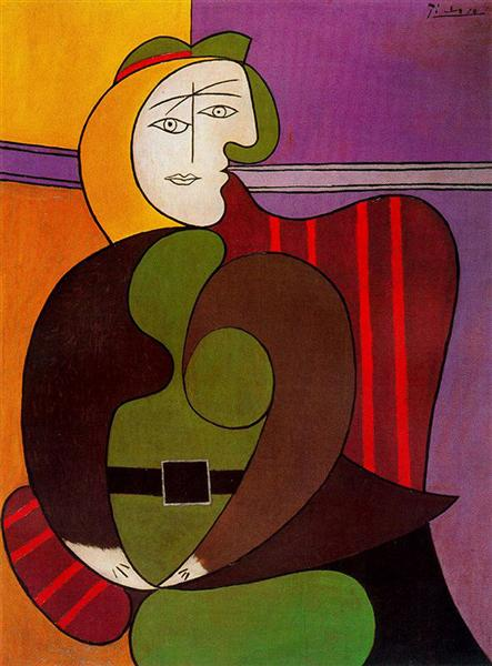Le fauteuil rouge Pablo Picasso 1931 Huile et Ripolin sur panneau 51 5/8 × 38 7/8 po (131,1 × 98,7 cm) Don de M. et Mme Daniel Saidenberg © 2018 Succession Pablo Picasso / Artists Rights Society (ARS) , New York
