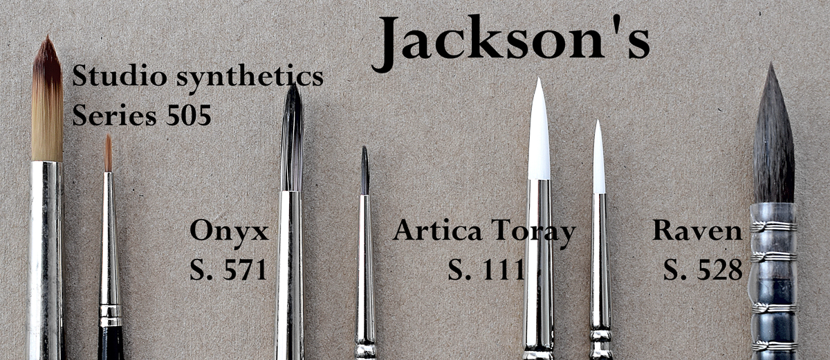 A selection of Jackson's vegan artist brushes