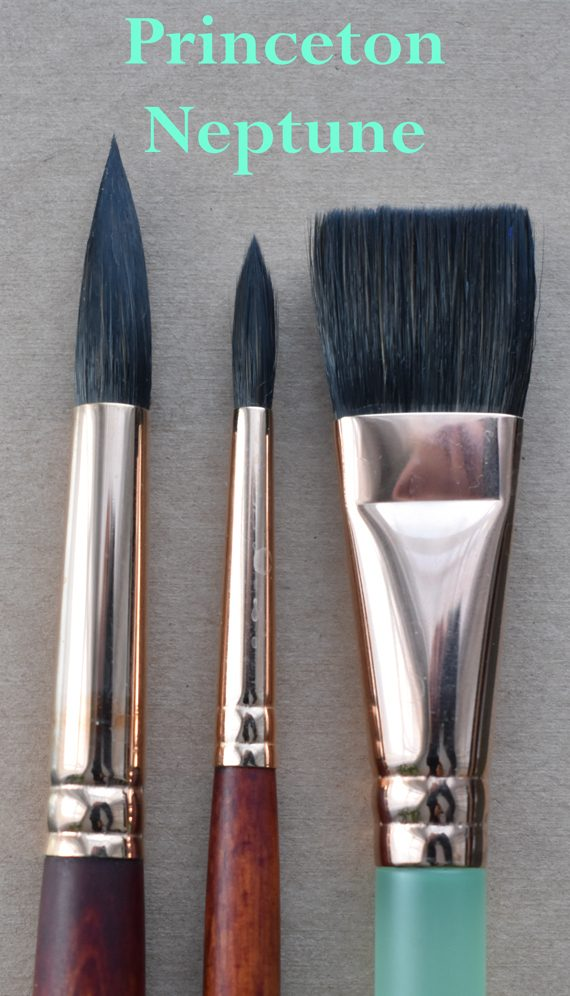 Three Princeton Neptune brushes (one with a seaglass handle)