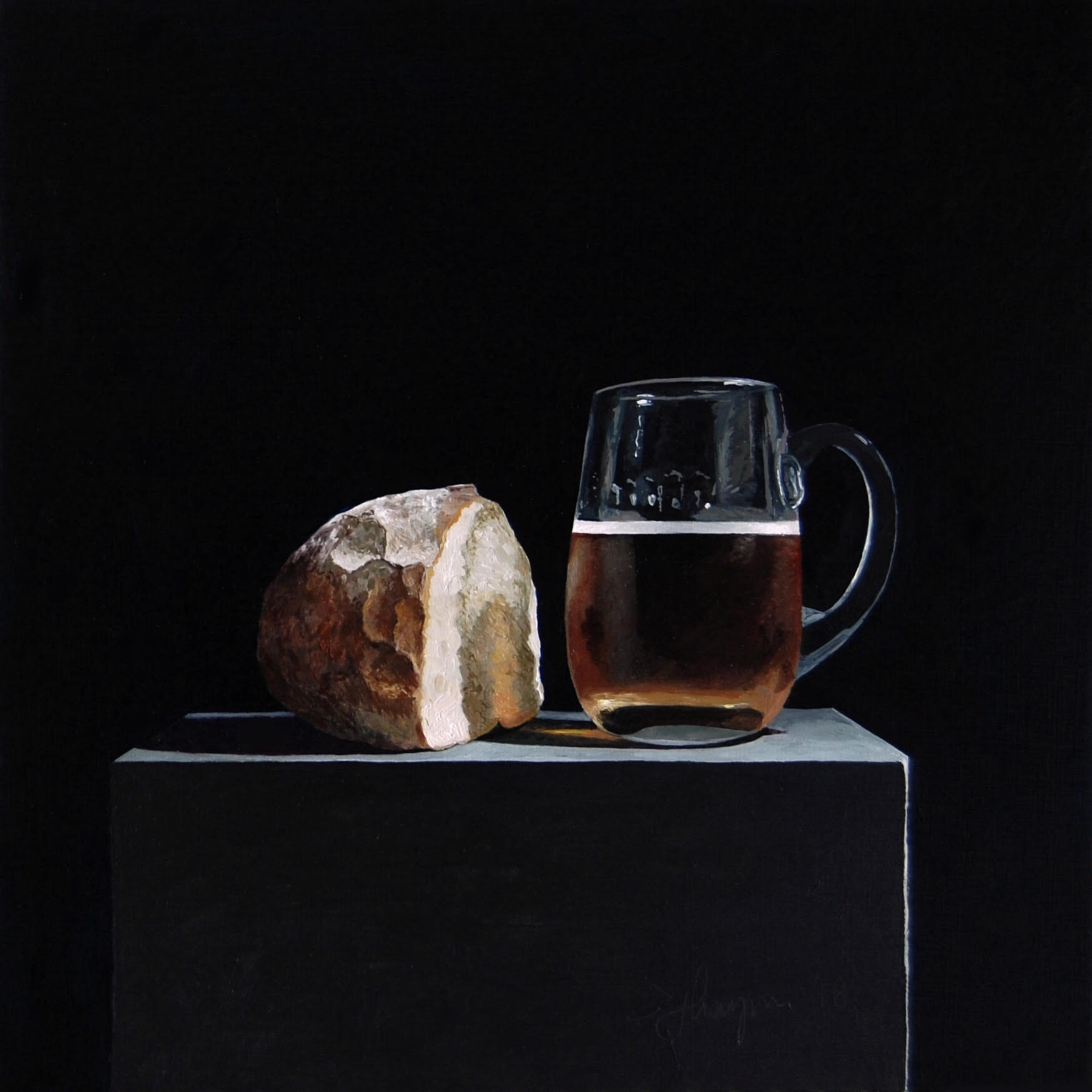 "Beer & bread, 10"" x 10"", Oil on Aluminium, 2018."