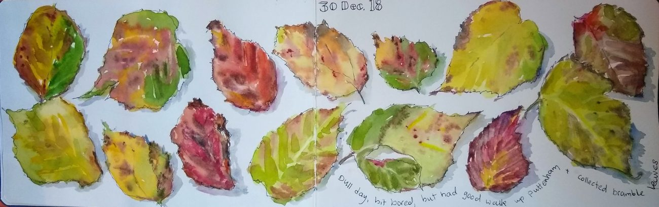 Bramble leaves on a Handbook Journal – across two pages, with some densely applied paint.