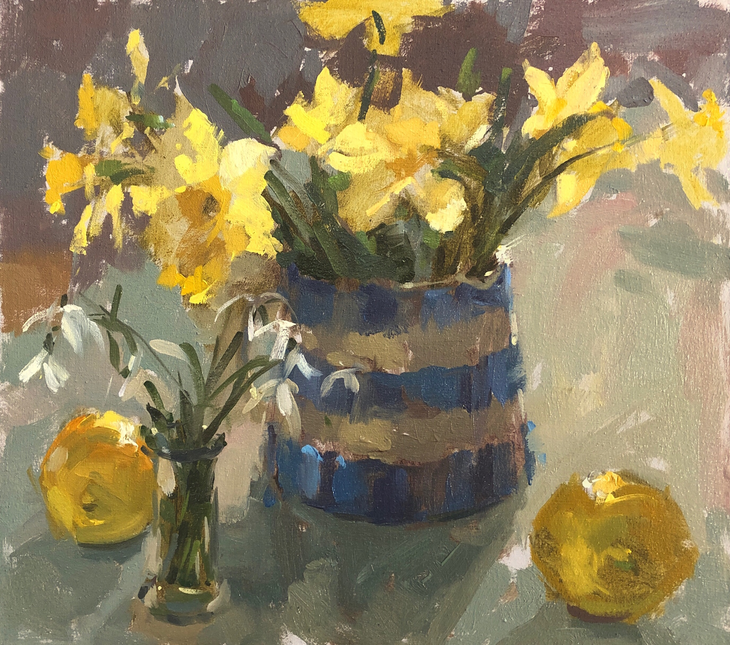 Daffodils and Cornishware - Haidee-Jo Summers - Oil on canvas