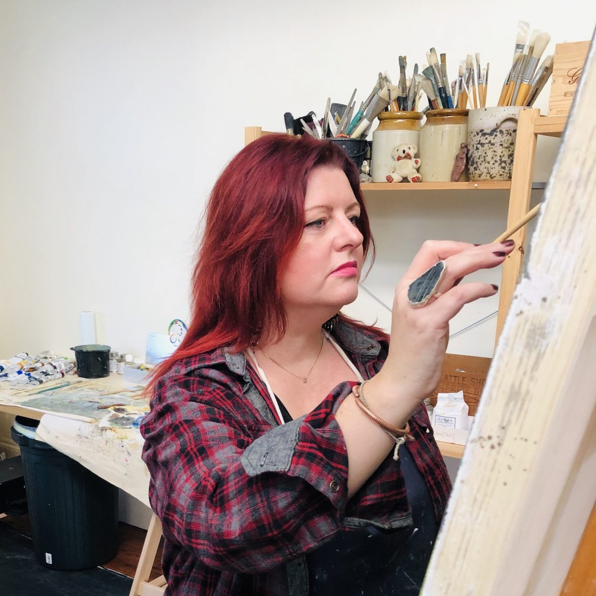 Lucy Marks at work in the studio.