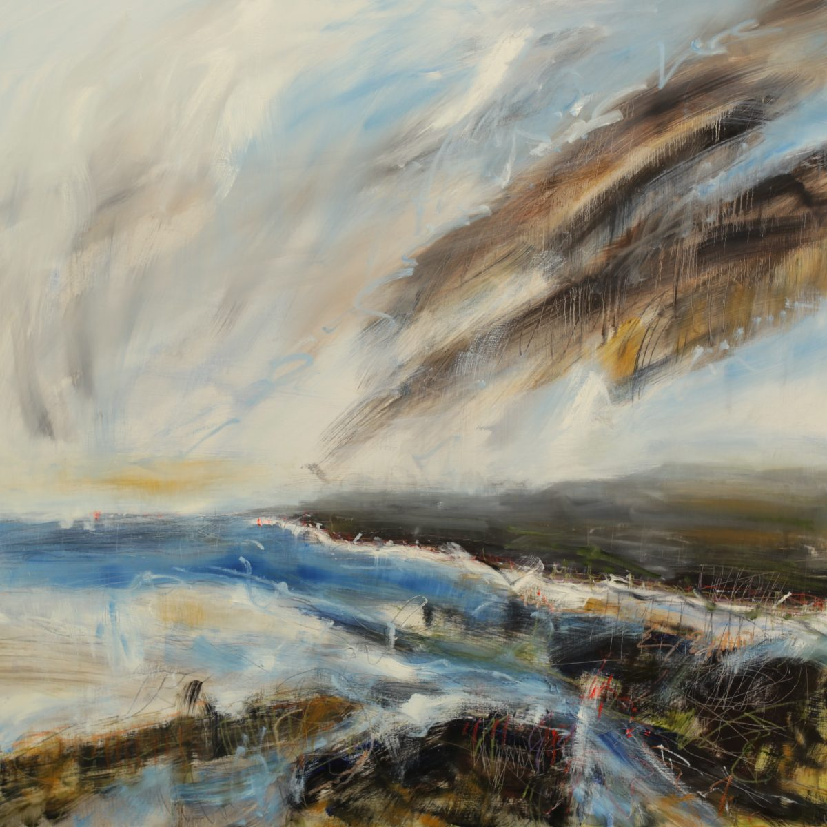 Wild Skies, 2018, Lucy Marks,120 x 120 cm, Oil on Wood Panel