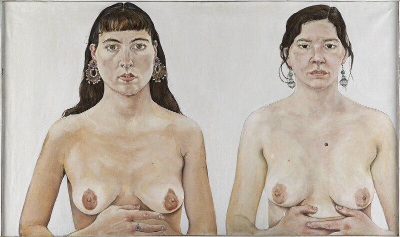 Ishbel Myerscough; Chantal Joffe ('Two Girls') by Ishbel Myerscough oil on canvas, 1991 23 in. x 39 in. (584 mm x 990 mm) Bequeathed by Stanley James Ellwood and Shirley Anne Ellwood, 2013 exhibitions in January