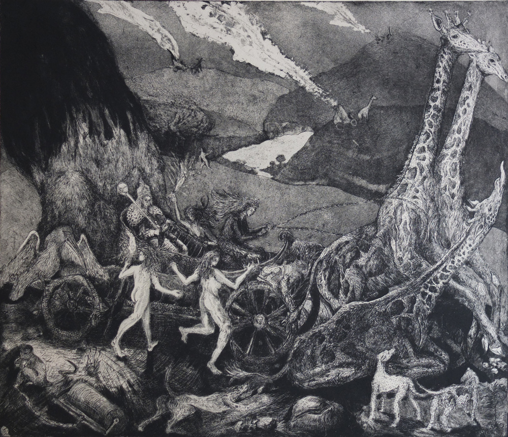 Jack Fawdry-Tatham, The Queen is dead, 2018, Etching with aquatint