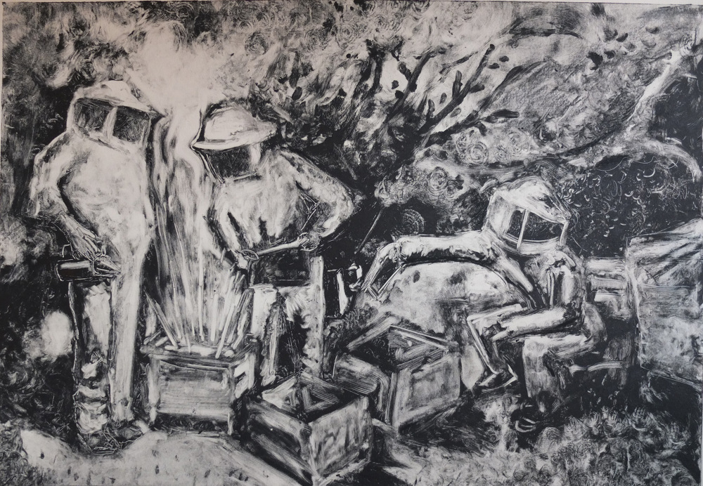 Jack Fawdry-Tatham, Gold, 2018, Monoprint