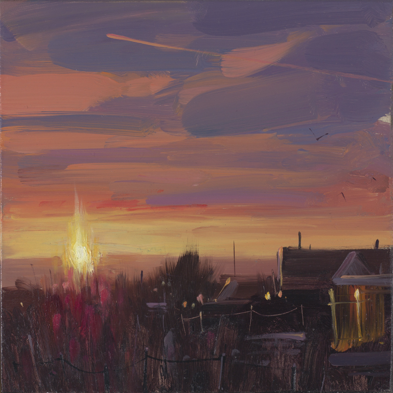 Last Light from the Balcony, Conrwall, Tom Hughes, 18 x 18 cm