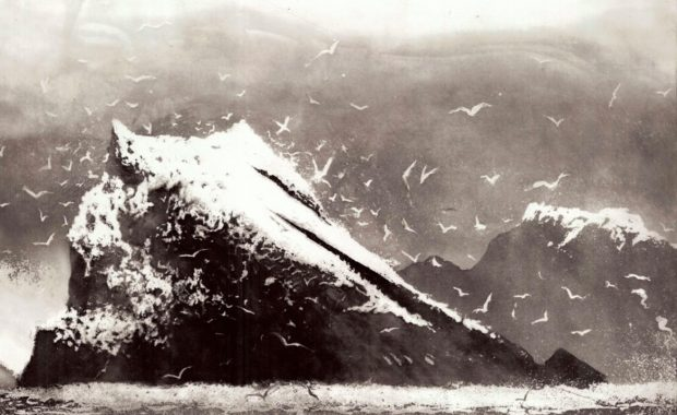 Norman Ackroyd, The Rumblings, Muckle Flugga, Shetland (1), 2013, Etching with aquatint, 780 x 495 mm, Signed, dated and titled in pencil, Numbered from the edition of 90