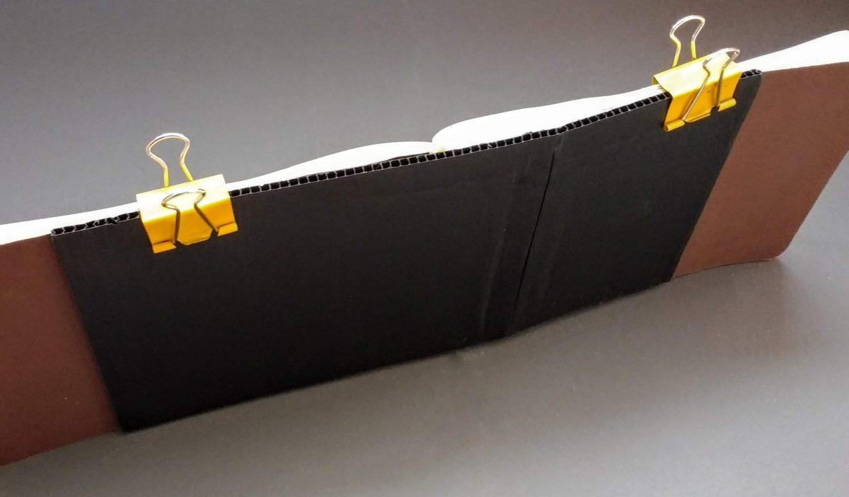 Corrugated cardboard attached to Stillman & Birn softback sketchbook