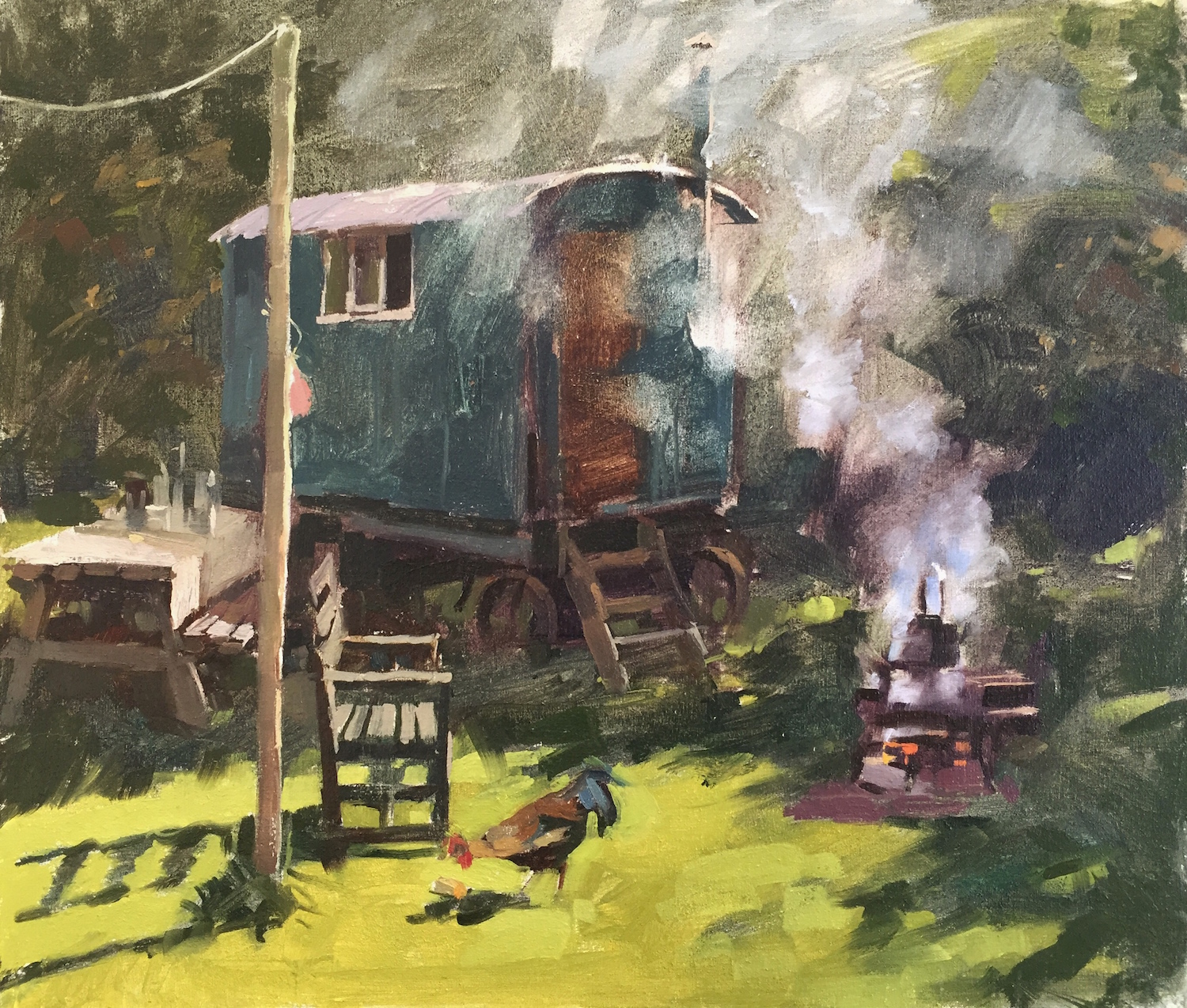 Shepherds hut and smoke - Haidee-Jo Summers - Oil on canvas
