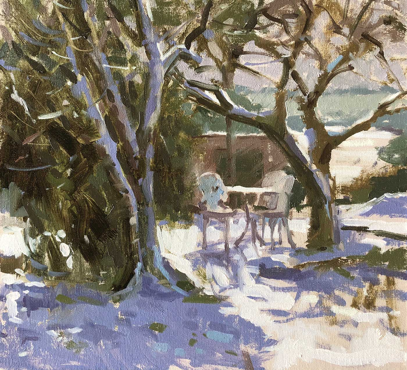 Summers-Haidee-Jo-Lilac-and-Bramley-Trees-in-the-Snow - Oil on canvas