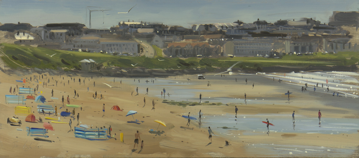 Tom Hughes, Fistral beach, early afternoon, July – 18 x 8 inches