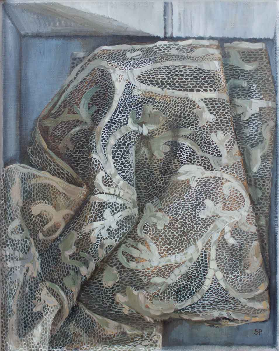 Sophie Ploeg, Lace in Box, Oil on linen on board, 30 x 24 cm, artists' goals and plans