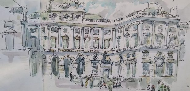 Courtauld sketch on a Handbook Journal – on location, across two pages, using fountain pen and ink