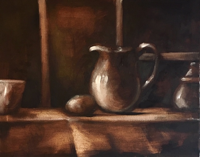 Still life using the wiping out method, whereby the canvas is completely covered with Burnt Umber, then highlights are revealed by wiping off with a soft cloth. Ultramarine and White are used for shade and further highlights. Live demonstration for local art society. Steven Hersey