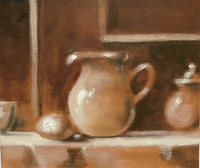 Study for still life above. Much lighter in tone. Canvas paper.