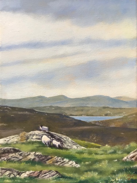 Study for another student who wanted to paint from a photo she took on holiday in Scotland. Canvas. She wished to explore water-based oil paints in this project.
