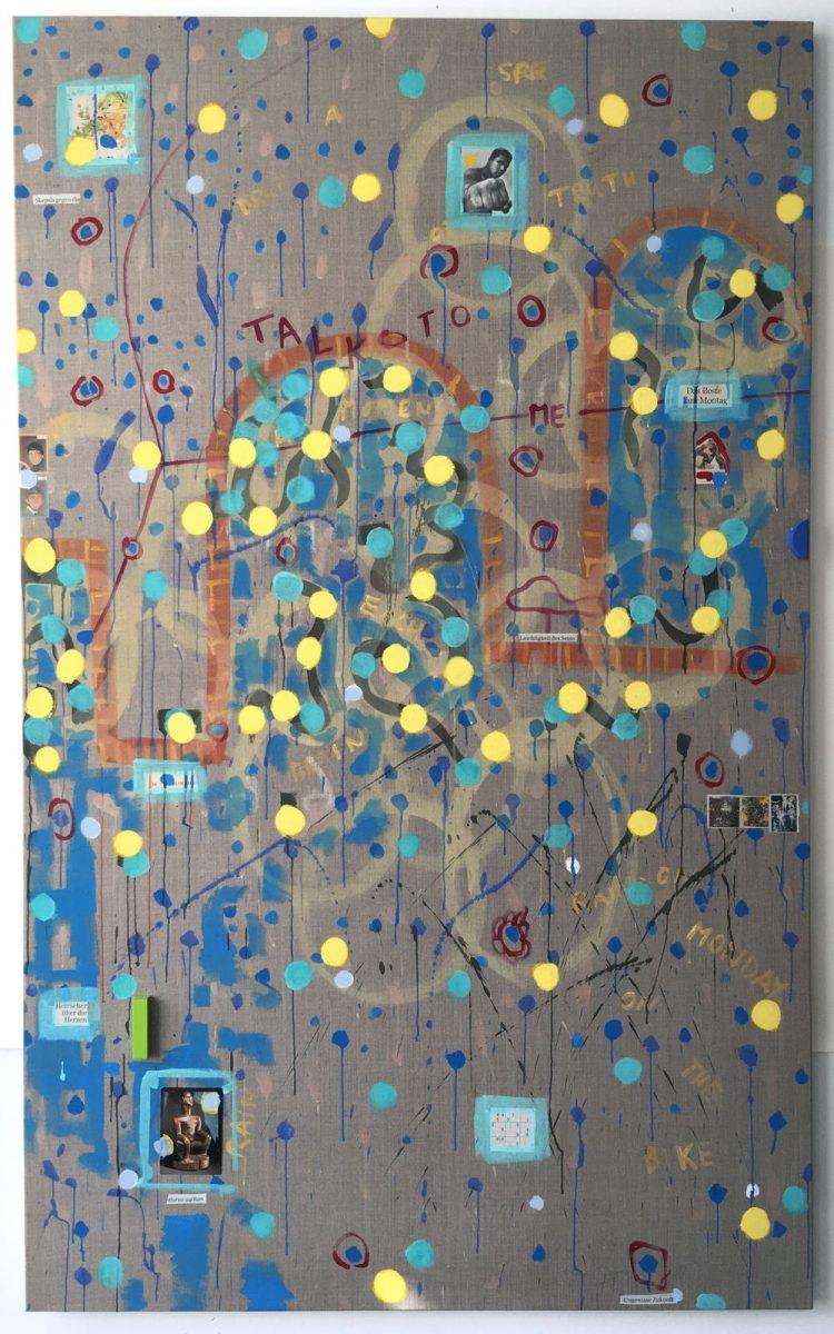 Alexander Bühler, Monday, 2016-17, Mixed media on linen, 230 cm × 135 cm × 5 cm