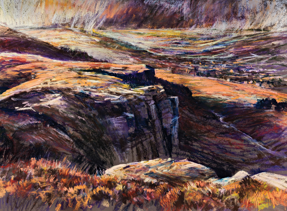 An inspirational landscape setting. 'Last light on Ilkley moor, West Yorkshire'. Unison Colour 'Moorland Colours' created on Canson Mi-Teintes' Touch 350 gsm 'Tobacco'( size 50 x 65cm). The 'Moorland Colour' box set features the part of the pastel painting on the high quality printed external banner for the box set., moorland pastels