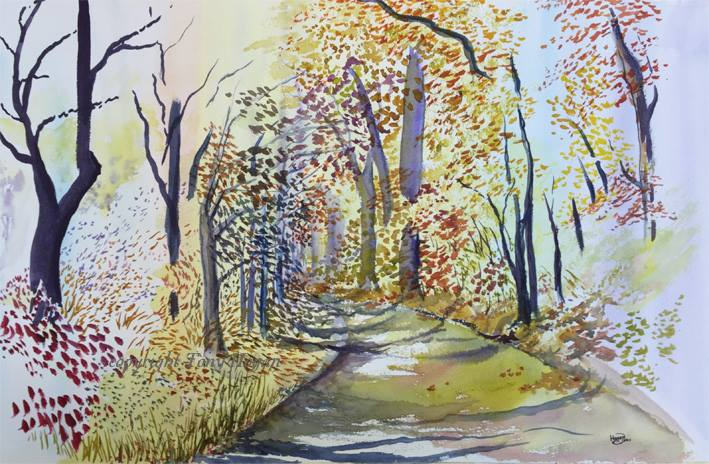 Tony Hogan, Autumn Golden, 'Autumn Golden light on the camel trail in Cornwall. Watercolour painting on 1/2 imperial Saunders Waterford 200lb rough paper with finest Daniel Smith watercolours during workshop I ran recently for an art group in Truro'