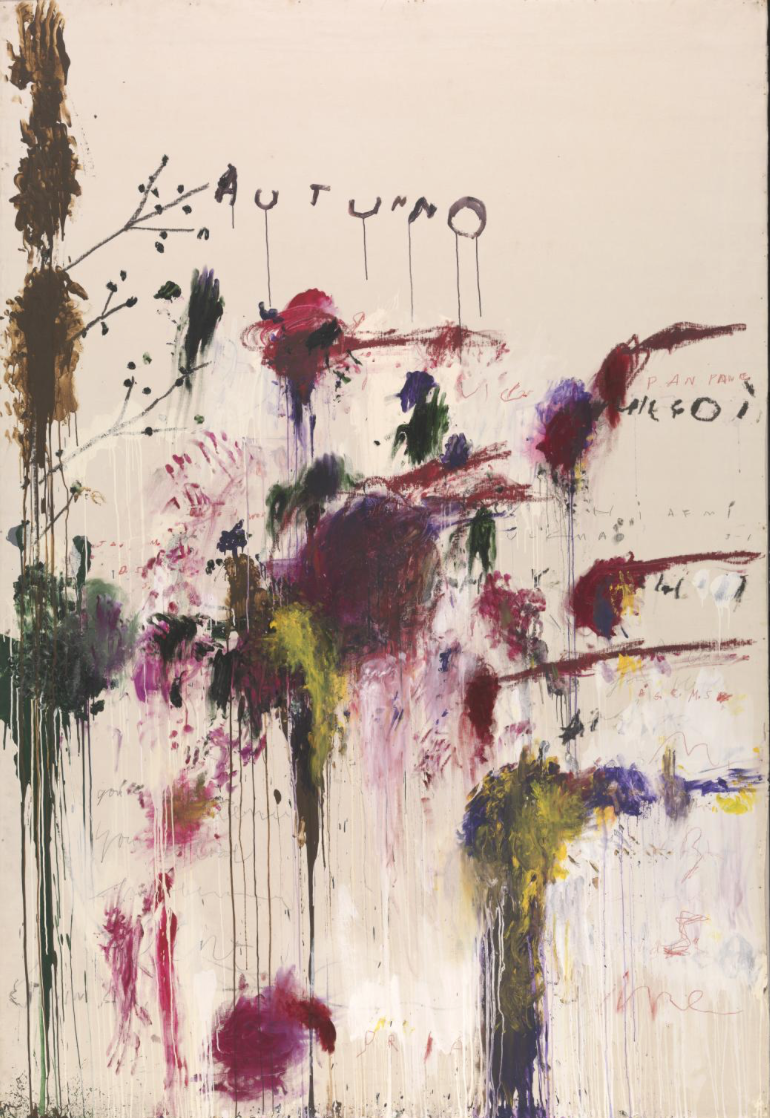 Cy Twombly Quattro Stagioni Autunno - Acryclic paint oil paint crayon and graphite on canvas 31.3 x 21.5 x 3.5 cm