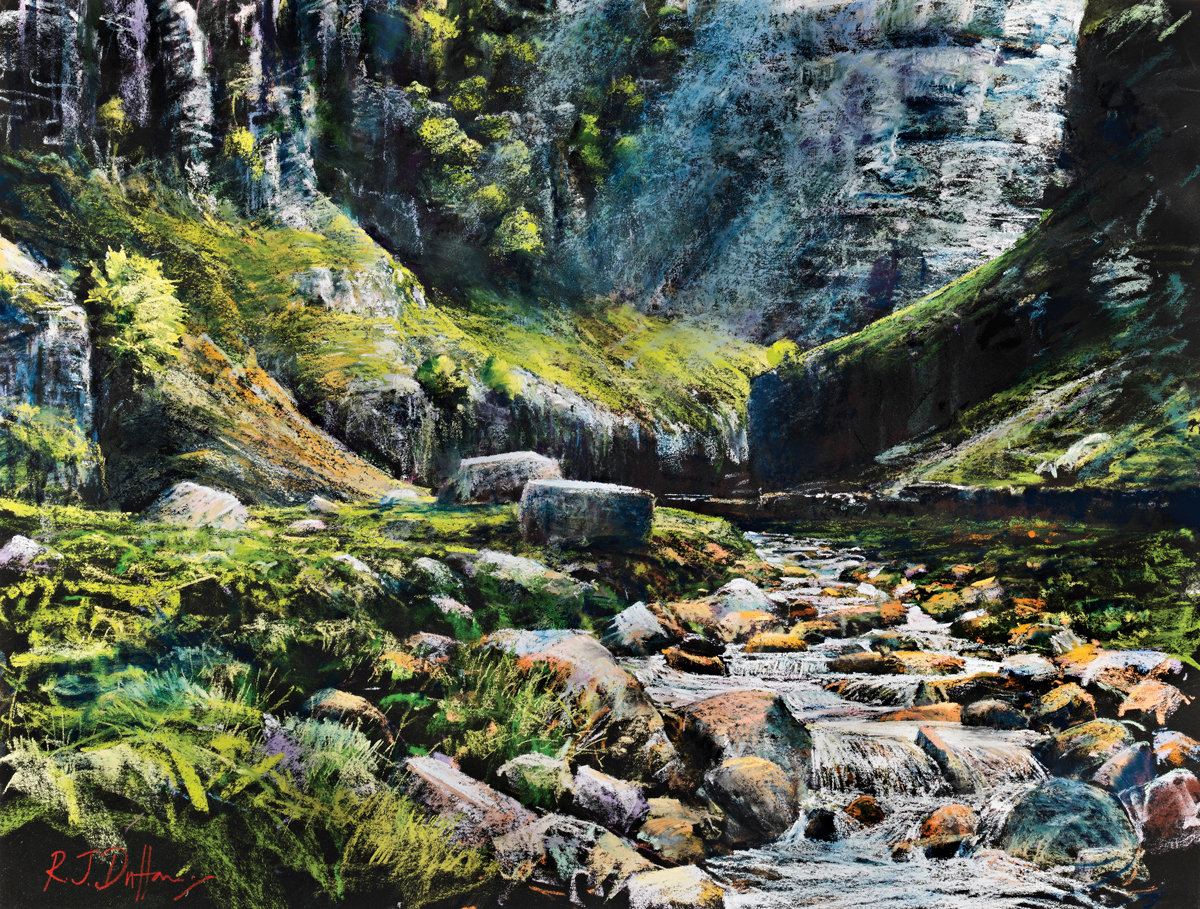 Gordale Scar spring light, Robert Dutton, moorland pastels