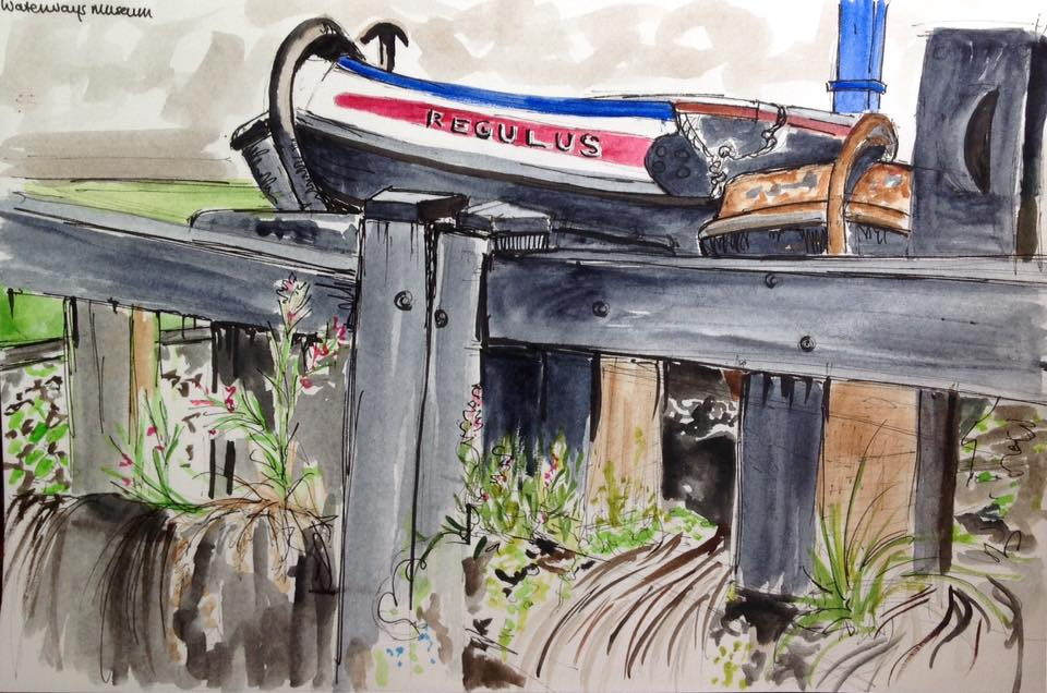 One of my sketches from my end of term trip with the Life Group to the National Waterways museum at Ellesmere Port