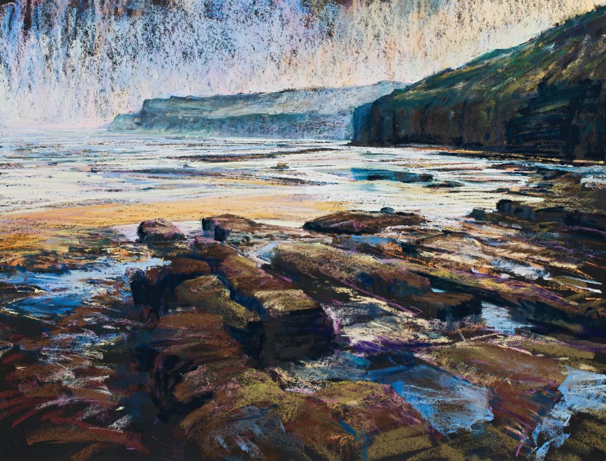 Robinhoods Bay Solitude,Robert Dutton, moorland pastels