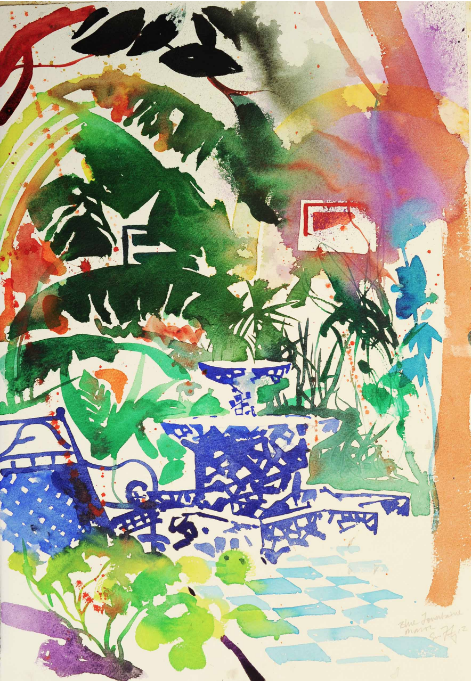 Simon Fletcher, Fountain, Morocco, painting holiday Morocco