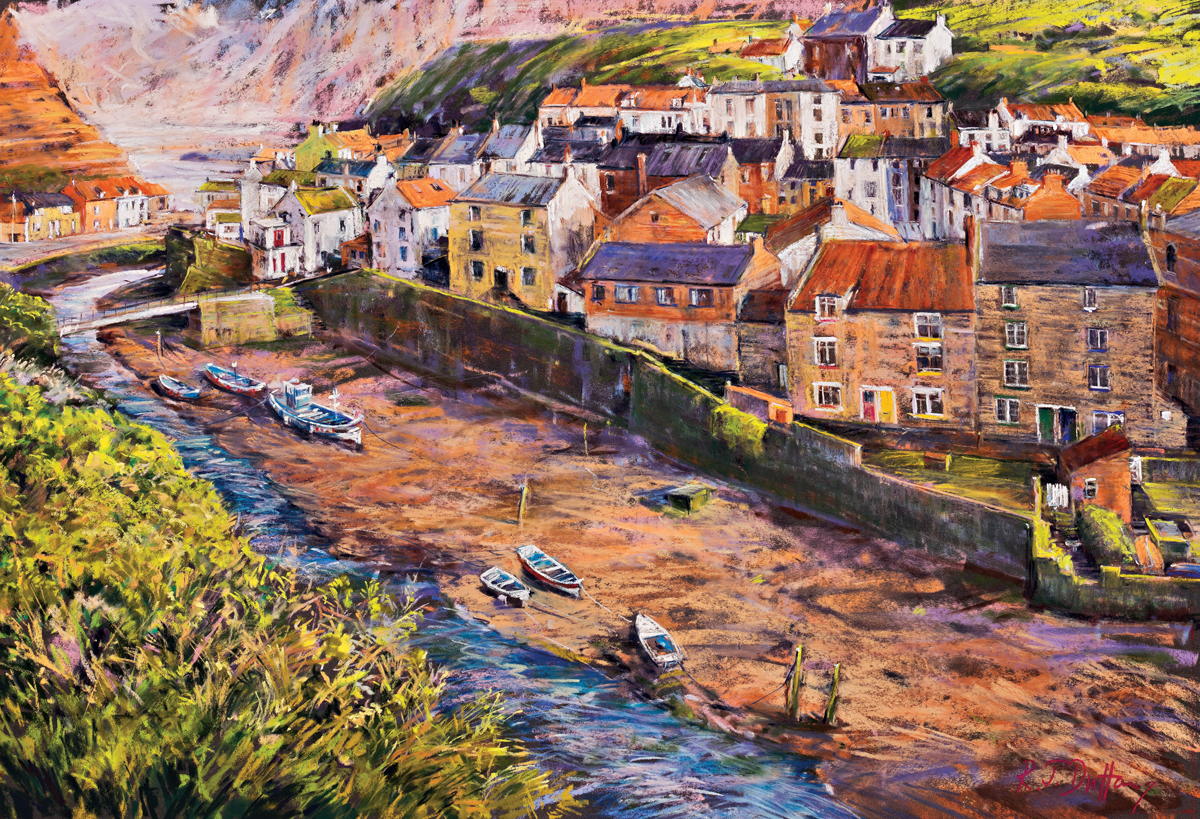 Soft light through Staithes, Robert Dutton, moorland pastels