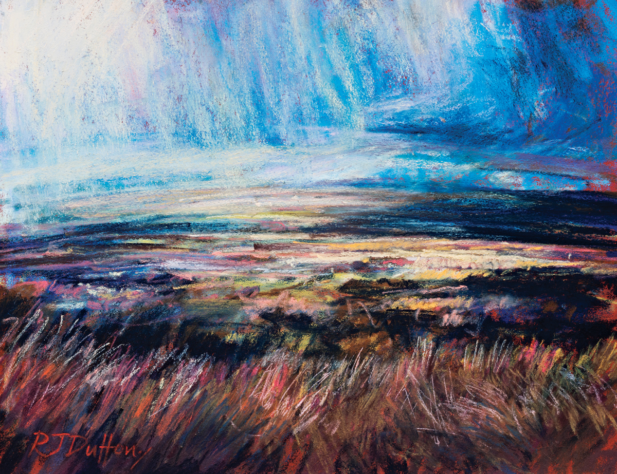 Sun and shadow over the moor,Robert Dutton, moorland pastels