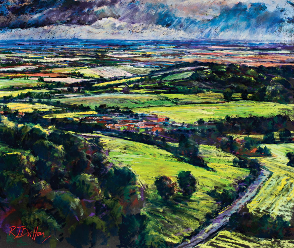 Yorkshire from Sutton bank, Robert Dutton, moorland pastel