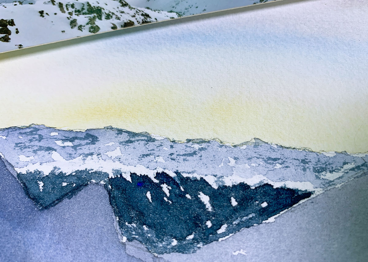 , Anna Zadorozhnaya Paints a Watercolour Mountain Landscape
