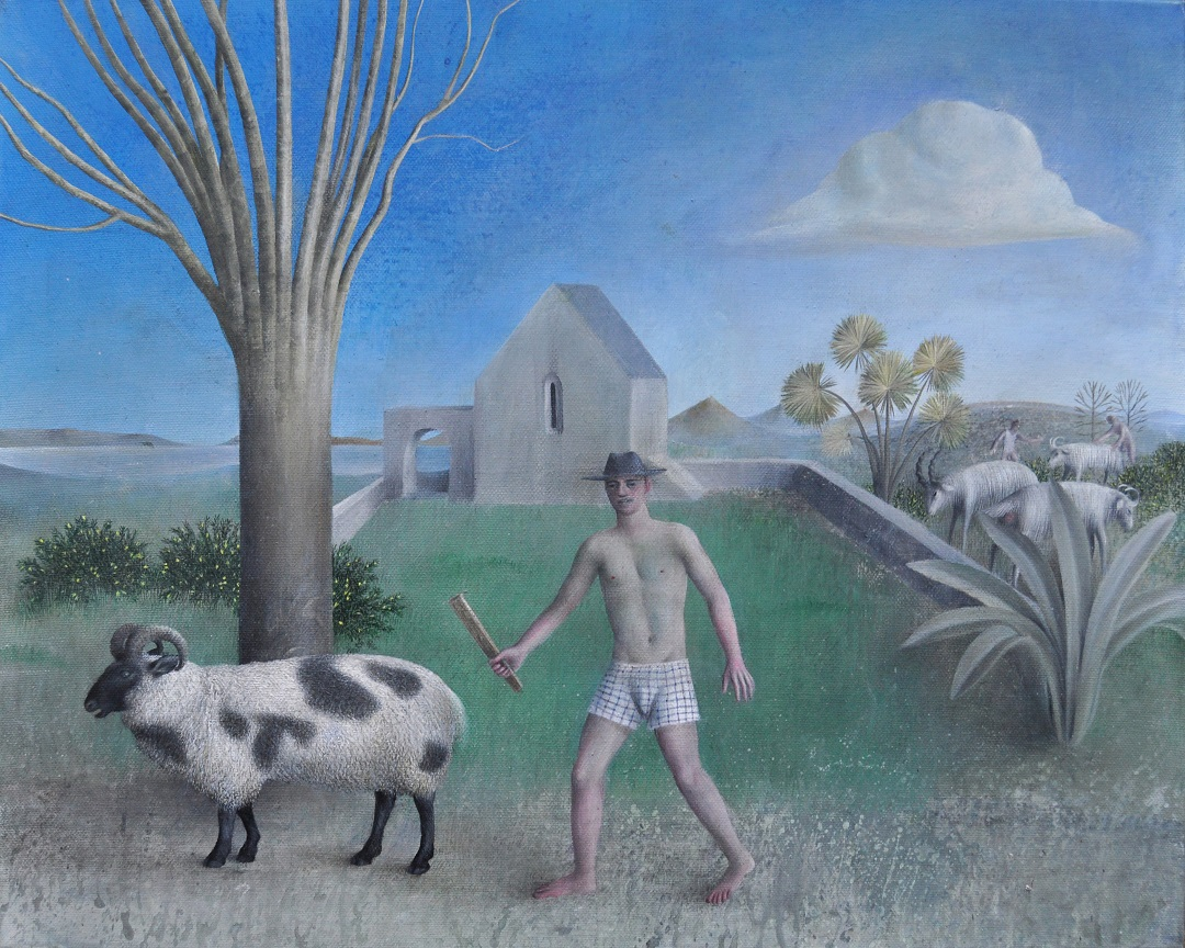 Sheep Man James Mortimer Oil on Canvas, 20in x 16in