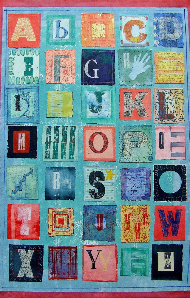 Jill-Tattersall-Naive-Alphabet,-100x68m,-mixed-media-with-print-and-collage
