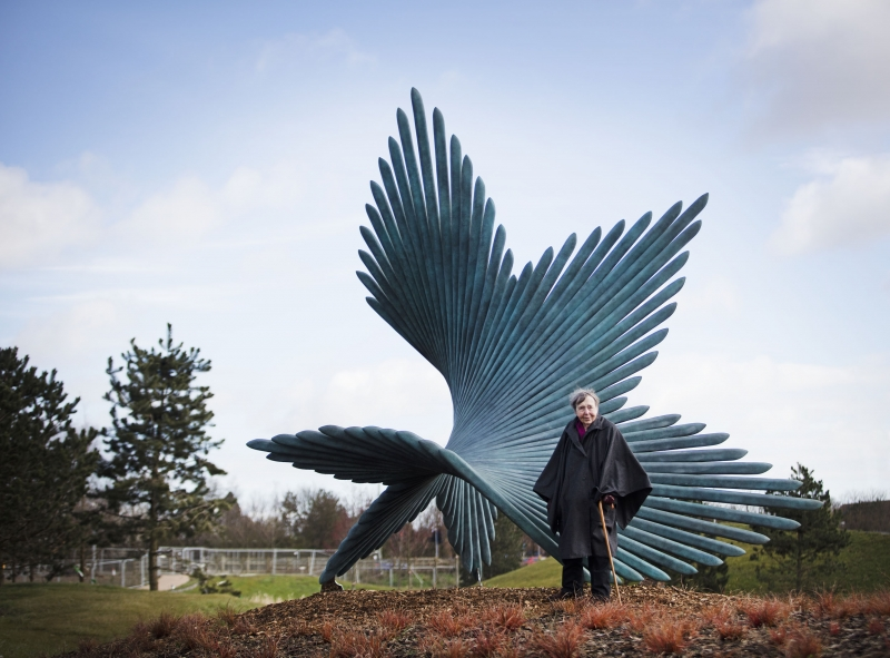 Charlotte Mayer with monumental sculpture Turning at Bicester Office Park, Oxford, in March 2016.