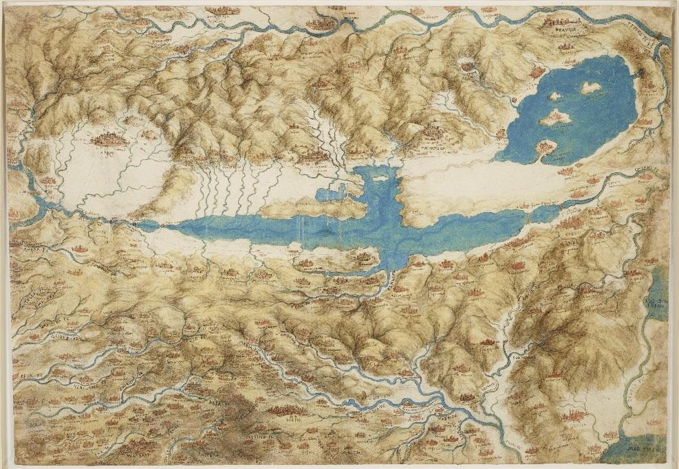 Leonardo da Vinci, A map of the Valdichiana, c.1503-6. Royal Collection Trust.