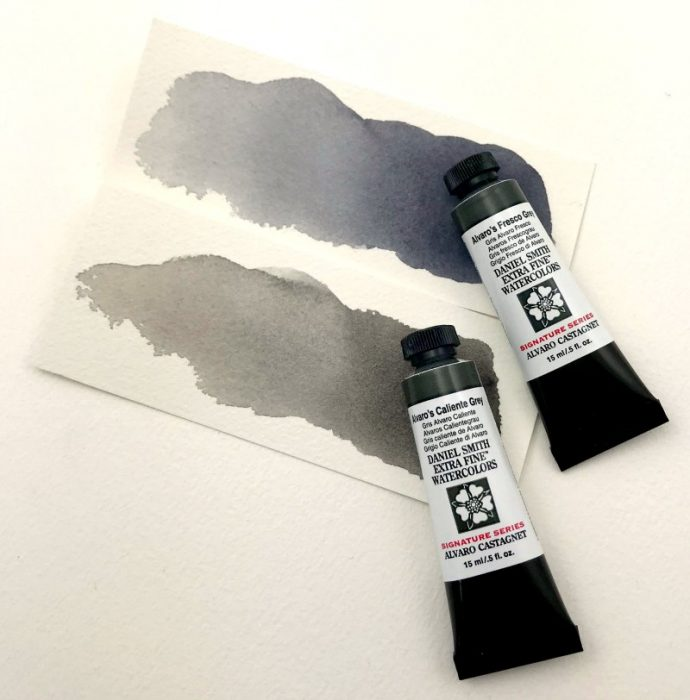 Alvaro's two watercolour greys painted out