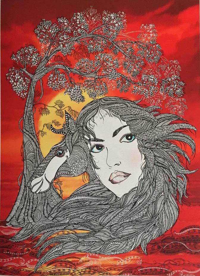 Ashima Kumar, 'Origin 3', mixed media 16.5x23 inch