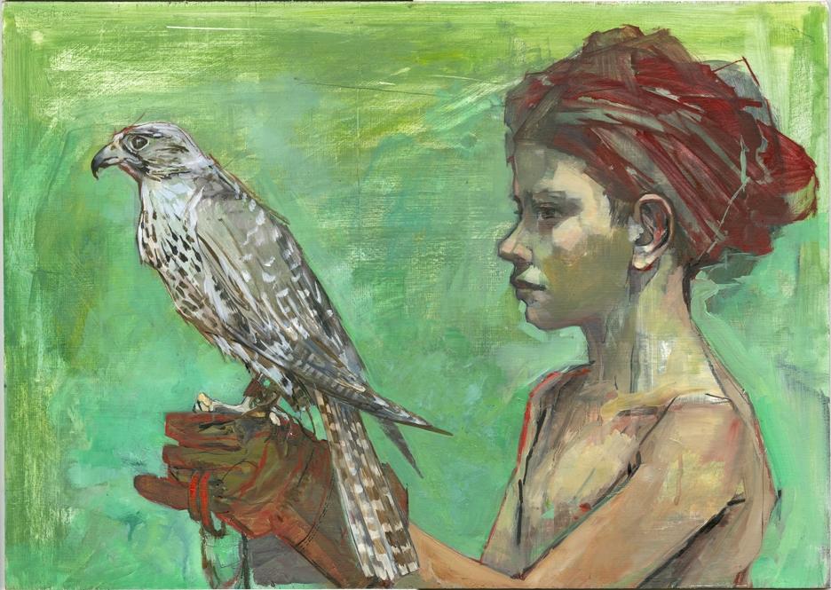 Olivia Lomenech Gill, Elzeard and the Falcon, Oil on board, 43 cm x 60.5 cm